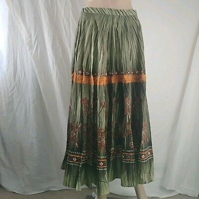 9f34415e5a Coldwater Creek M Long tiered maxi Skirt olive green orange boho peasant  gypsy
