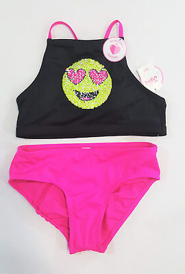 Choose Size! NWT Justice Girls Emoji Flip Sequin Bikini Swimsuit