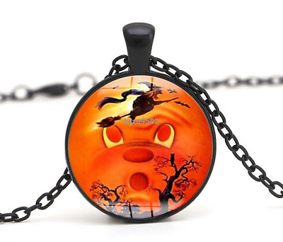 Halloween Flying Witch Cat Owl Cabochon Black Glass Pendant Necklace Jewelry#252