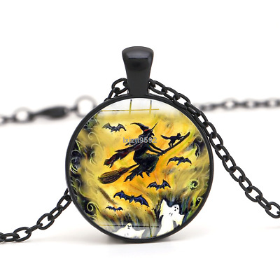 Halloween Flying Witch Cat Owl Cabochon Black Glass Pendant Necklace Jewelry#245