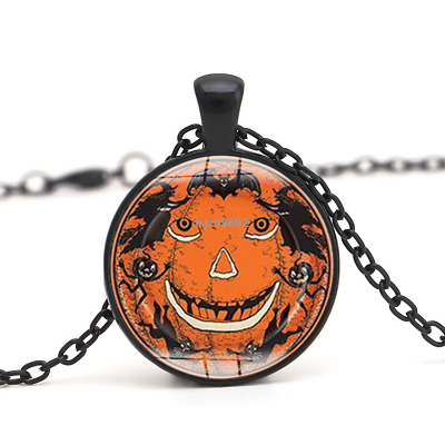 Halloween Flying Witch Cat Owl Cabochon Black Glass Pendant Necklace Jewelry