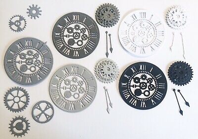 New - Steampunk Clock & Gear Die Cuts - Monochrome Mix (pack Of 5)