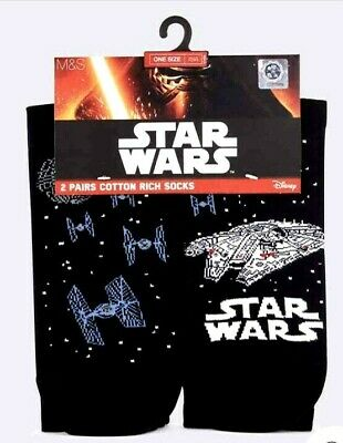 New 2 Pairs Star Wars Cotton Rich Socks One Size 6-12 Disney Marks And Spencer