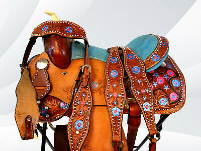 NEW 10 12 13 TURQUOISE KIDS YOUTH BARREL RACING TRAIL HORSE LEATHER SADDLE TACK