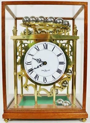 Rare Vintage English Mystery Spherical Rolling Ball Table Clock Under Glass Case