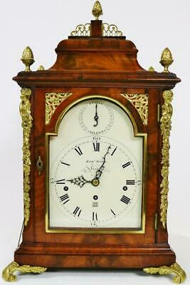 Antique 18thc English London Triple Fusee Verge Musical 8 Bell Bracket Clock