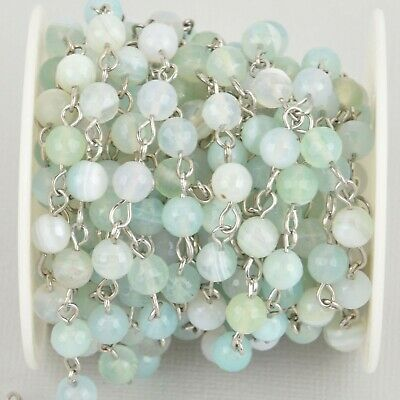 1 yard 6mm Robins Egg BLUE AGATE Rosary Chain, silver wire, fch1087a
