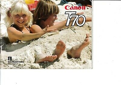 Genuine Original Canon Camera  T70 Instructions Manual 72 Pages