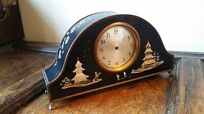 1900's Antique Chinoiserie Mantel Clock Case Celluloid & Brass Mop Shell Painted