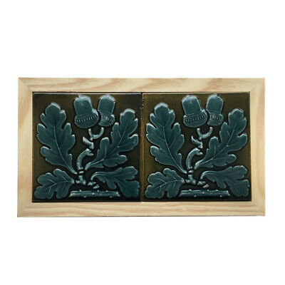 "Pair of c.1870 Maw & Co. 3"" acorn tiles, framed"