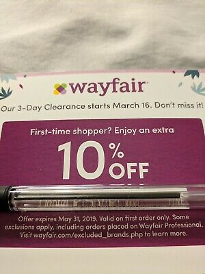 Wayfair 10% off first order coupon, expires 5/31/2019