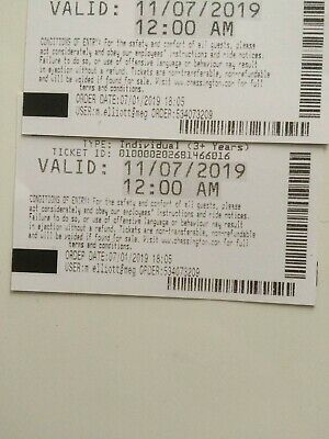 2 x Chessington world of adventures theme park tickets Thursday 11th July 2019
