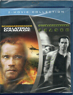 COLLATERAL DAMAGE & ERASURE (Arnold Schwarzenegger) Blue Ray SEALED! 2 Movies!