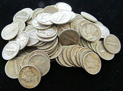 2 Rolls $10 (100 Coins) Mercury Dime; 90% Silver Dimes, Mixed Dates - Item# 9071