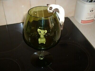 Vintage cat & mouse brandy glass in green colour