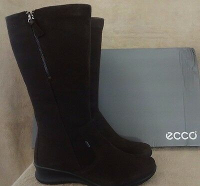 ECCO BABETT WEDGE Mocha High Cut Leather Tall Boots Shoes US