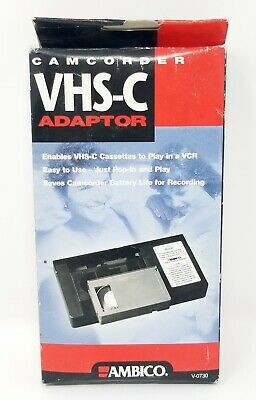 *NEW* Ambico V-0730 Cassette Adapter PlayPak VHS-C to VHS Tape Deck Converter