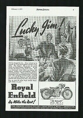 February 1951 Royal Enfield 350 Bullet Motorcycle Model G2. Magazine Advert.