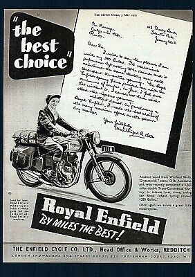 May 1951 Royal Enfield 350 Bullet Motorcycle Model G2.magazine Advert