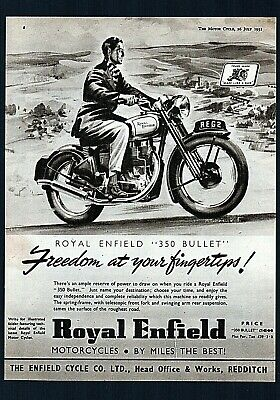 July 1951 Royal Enfield 350 Bullet Motorcycle Model G2.magazine Advert.