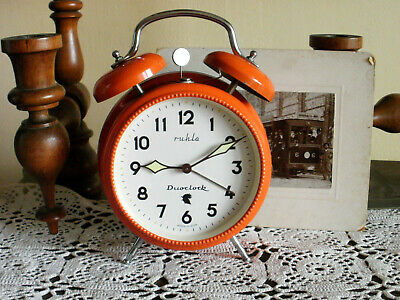 Rare Vintage Ruhla Duoclock Germany Mechanical Alarm Clock Working And Ringing