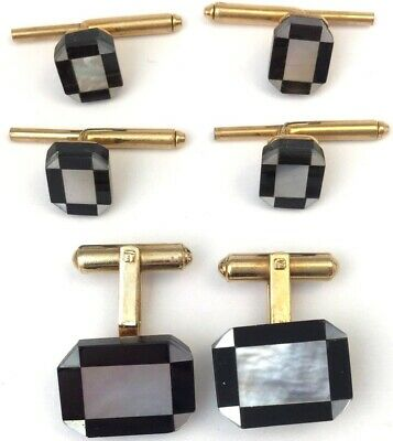 Vintage Cufflinks Stud Set Geometric Mother Of Pearl Shell Onyx 14K Gold Filled