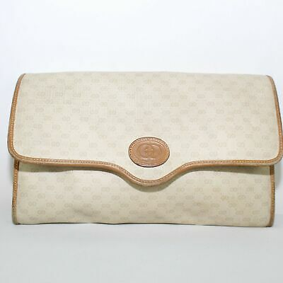 3361873743152e GUCCI G LOGO Print Canvas and Brown Leather Coated Vintage Bag ...