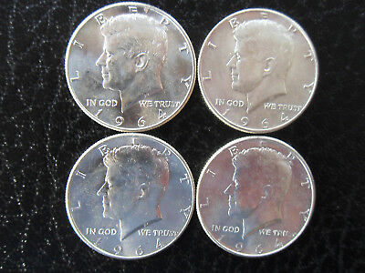 1964 Kennedy 90% Silver Half Dollars - Lot of 4 - UNCIRCULATED