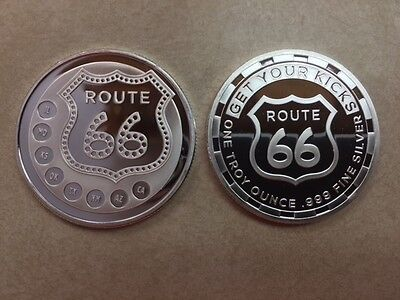 **FREE SHIPPING** ROUTE 66 Famous Highway 1 oz .999 SILVER Coin