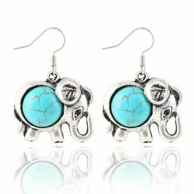 Earrings Fashion Jewellery Vintage Elephant Silver Turquoise