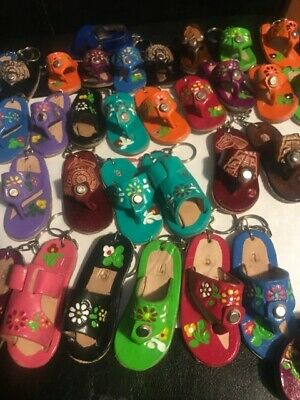 """KEY CHAIN MINI Mexican Huarache Sandal Authentic Leather Approx 3/"""" inch 01"""