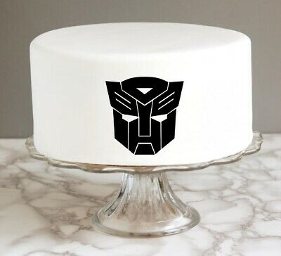 Transformers Logo Cake Topper Edible Icing 8.7cm x 8.7cm Birthday Party Pre Cut