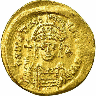 [#513719] Coin, Justinian I, Solidus, 545-565, Constantinople, AU(55-58), Gold