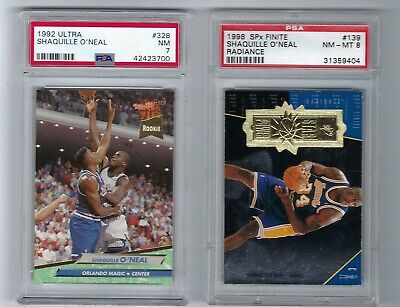 (2) Shaquile O'Neal PSA graded 1992 Ultra RC & 1998 SPx Finite Radiance #'d/2700