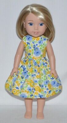 Yellow Floral Flannel Doll Dress Clothes Fits American Girl Wellie Wisher Dolls