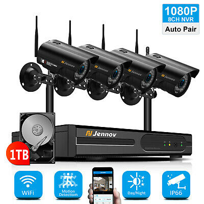 8CH 1080P Wireless Security Camera System Outdoor Home CCTV Audio Wifi NVR Set