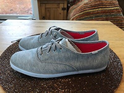 cde270dc5e5c8 Keds Women s Champion Sweatshirt Jersey Oxford Grey and Red Insoles WF522260