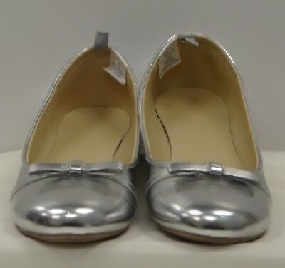 00d85b664ef7 GYMBOREE Girls Silver Bow Embellished Slip-On Ballet Flats Dress Shoes - 3