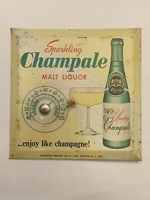 BEER CHAMPALE MALT LIQUOR ADVERTISING sign with THERMOMETER