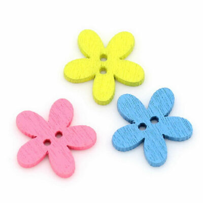 New Scrapbook Crafts 14x15mm Buttons Flower Wooden Fashion