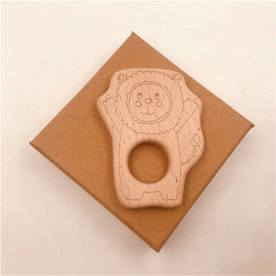 Kids Teether Wooden Lion Pendant Baby DIY Wood Food Pacifier Teether Accessory J
