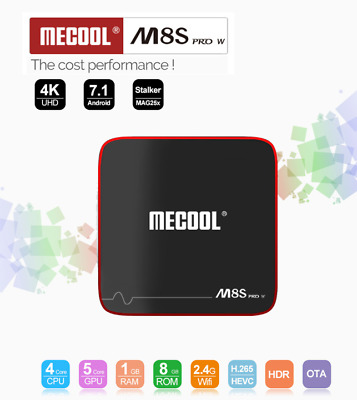 MECOOL M8S PRO W TV Box 2.4G WiFi HDR 4K Bluetooth Android7.1 8GB ROM H.265 HDMI
