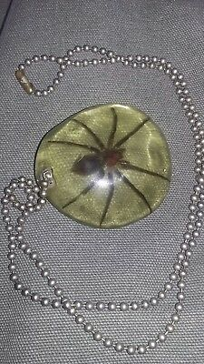 VINTAGE SPIDER NECKLACE mid-century retro costume rare jewelry antique resin