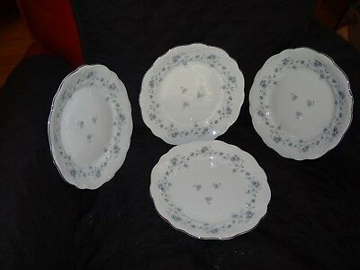 "Johann Haviland Blue Garland Bavaria Germany 10-1/4"" plate, set of 4"