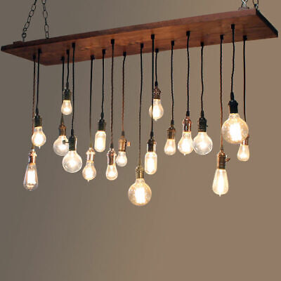 Rustic Wood Plank Large Linear Island Pendant Light Hanging Exposed Bulb Lamp