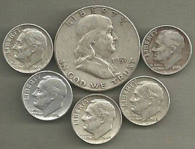 Franklin Half Dollar & Roosevelt Dimes- 90% Silver- US Coin Lot - 6 Coins #3893