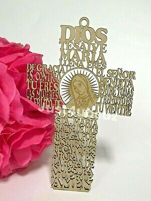 1-Catholic Wood Cross Crucifix Wall 7'' Hanging Our Lady Guadalupe Jesus Prayer