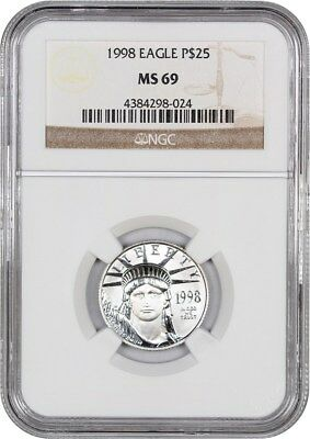 1998 Platinum Eagle $25 NGC MS69 - Statue Liberty 1/4 oz