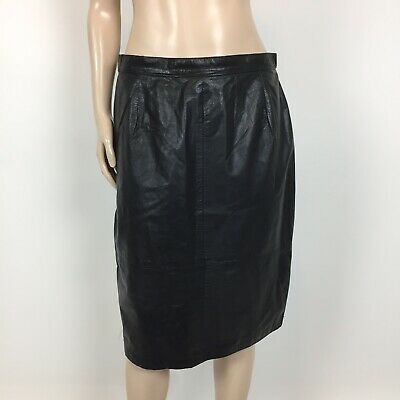 Vintage 80's Comint Women's Skirt 15/16 Leather Pencil Argentina Lined A3-13