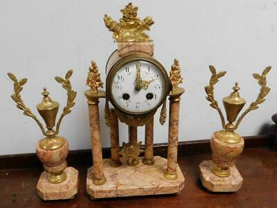 french marble 8 day clock garniture